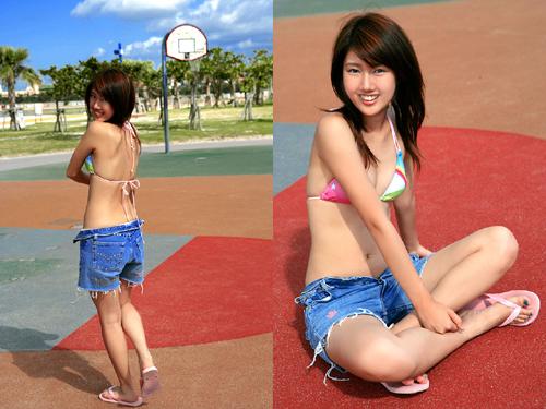 沙滩篮球女孩粉嫩俏皮写真照