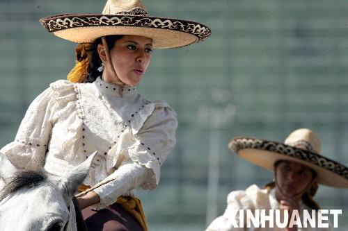 2月3日,一名女骑手在墨西哥首都墨西哥城举行的骑士节上参加骑马比赛。当日,墨西哥城举行一年一度的骑士节。近5000名市民观看了骑马比赛、马上表演等活动。