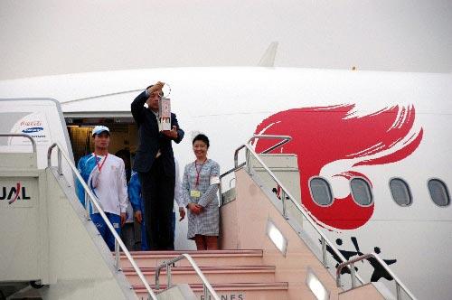 北京奥运圣火抵达日本长野明日上午传递
