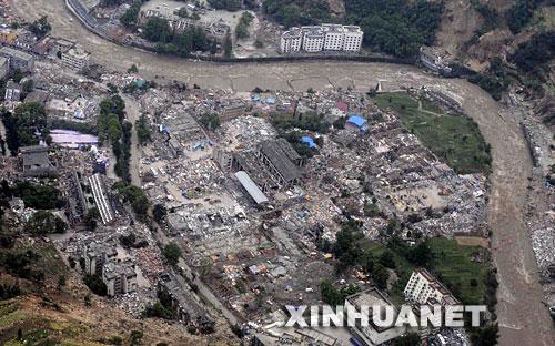 这是5月14日航拍的地震后汶川县映秀镇