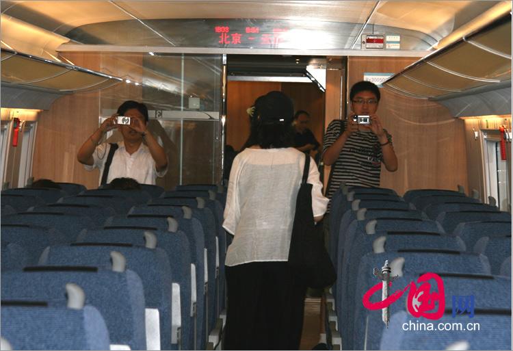 整潔、舒適的京津城際鐵路列車車廂
