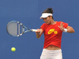 8月5日,中国选手李娜在北京奥林匹克公园网球场进行训练
