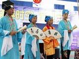 """8月5日,福州市仓山区在江南水都小学举办""""穿越时空 童迎奥运""""中国古代体育项目夏令营活动。"""