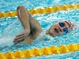 """8月6日,中国游泳选手在""""水立方""""集结训练,准备8月9日开始的奥运会游泳比赛。"""