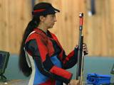 8月8日,中国选手杜丽的劲敌俄罗斯名将加尔金娜(Galkina Lioubov)现身射击馆训练。