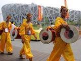 """8月8日下午,參加北京奧運會開幕式演出的演員準備進入國家體育場——""""鳥巢""""。"""