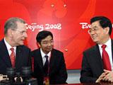 中国国家主席胡锦涛、国际奥委会主席罗格出席北京奥运会开幕式