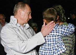 普京看望逃离南奥塞梯的难民