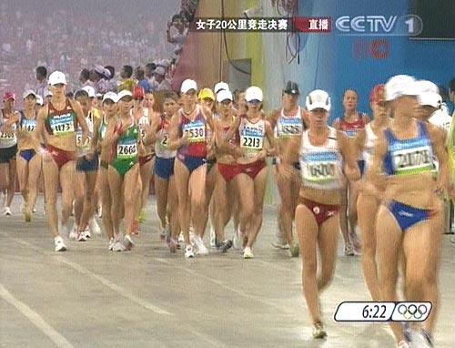 刘虹、杨明霞、时娜参加比赛.图为各国选手在比赛中.-女子20公里图片
