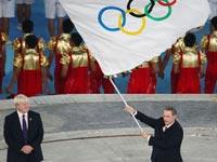 會旗交接儀式 倫敦奧組委接過五環旗[組圖]
