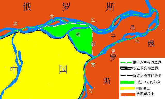 中俄黑瞎子岛边界示意图