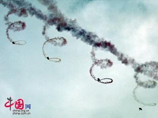 """2008珠海航展:八一跳伞表演队""""精彩飞天""""[组图]"""