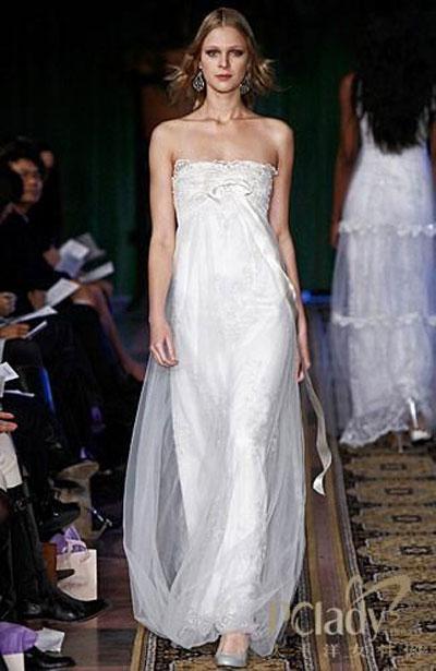 pettibone透明飘逸的薄纱笼罩修身长裙或者
