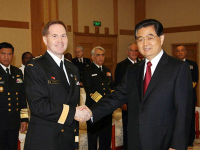 胡锦涛会见29国海军代表团团长