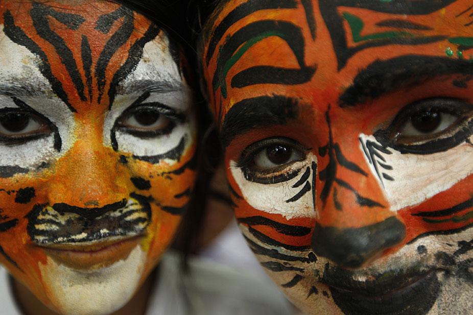 印度学生画脸谱呼吁保护野生动物[组图]