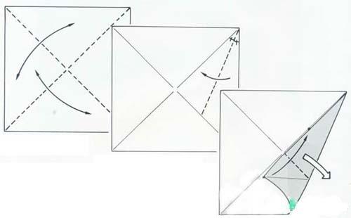 1,在一张边长约20厘米的正方形纸上折出两条对角线.