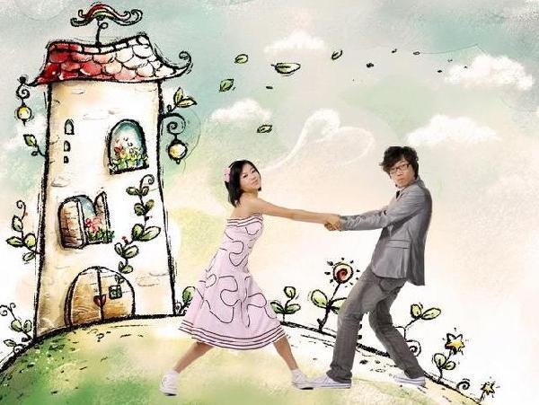 可爱卡通结婚照(组图)