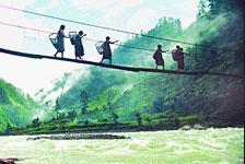独龙江上的吊索桥