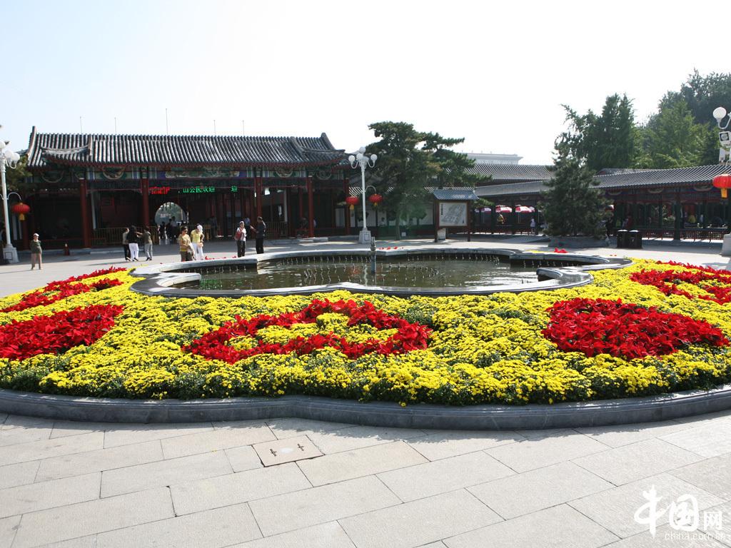 一个巨大的花坛同喷泉相映成趣