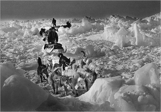 ... 比松地区,海吉玛-亨克恩正等着海豹从冰孔下经过