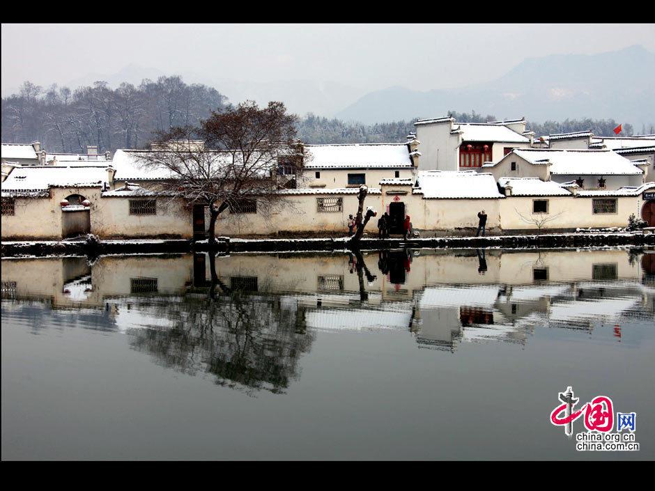 冬雪扮靓宏村; 安徽黄山:冬雪扮靓宏村--城市新图网