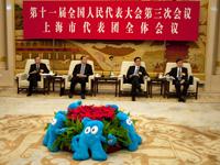 第十一届全国人民代表大会第三次会议上海市代表团全体会议现场