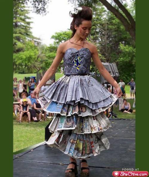 牛人制造:美女的报纸裙图