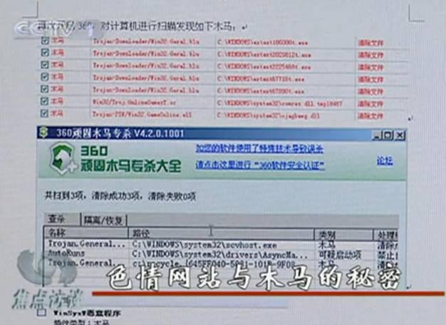 央视揭秘:色情网站与木马共生黑幕(图)