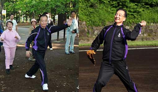 温家宝总理东京练太极打棒球,好亲民