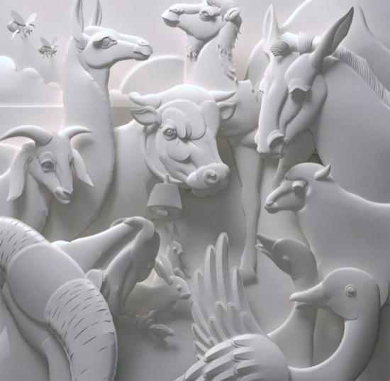 超神奇的立体纸雕塑艺术作品