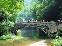 """2010年6月19日,在湖北省宜昌市夷陵区黄花乡境内,一个以大瀑布为主要景点的山水风景旅游区,吸引了众多游客来此享受""""天然氧吧""""。"""