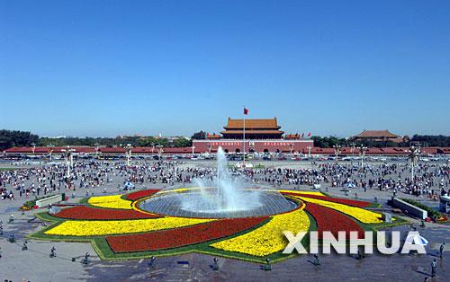 26年的天安门广场国庆花卉布置