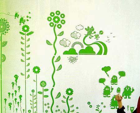 整体色调很和谐 手绘墙面