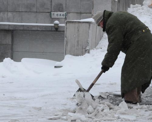 在吉林省长春市人民大街上扫雪除冰.-长春市民扫雪除冰忙图片