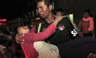 高清組圖:柬埔寨首都金邊發生嚴重踩踏事件