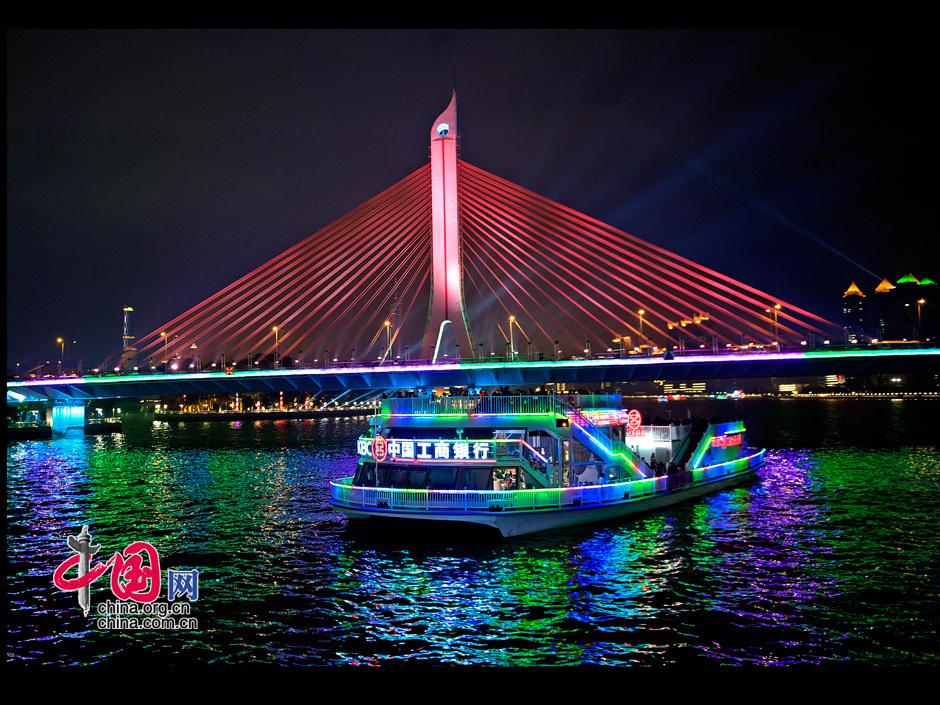 夜游珠江:船桥相映 绚丽多彩 图片中心 中国网