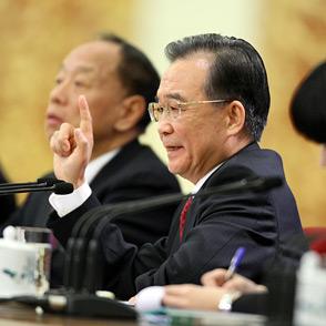201年全国两会 温家宝 总理见面会 中国网
