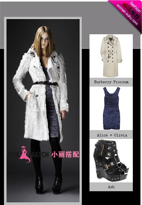 黑白灰有新意,穿搭在白色大衣里面组合很巧妙,同时也起到了拔高
