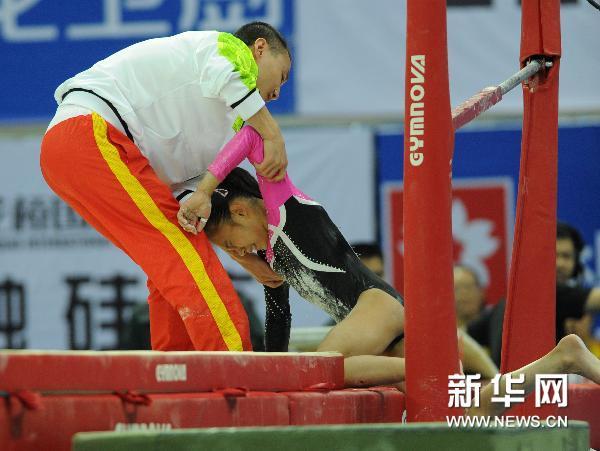 全国锦标赛 庄锦霖掉杠受伤