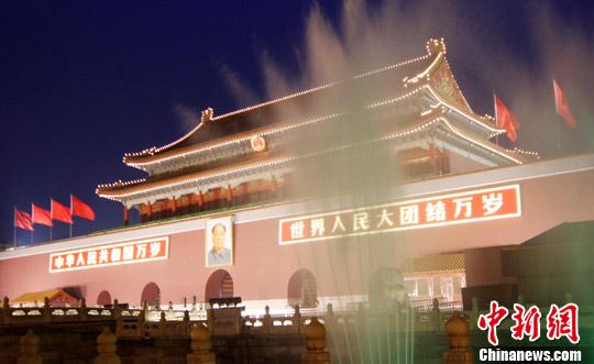 天安门主题花坛今亮灯 北京夜景照明连开4夜