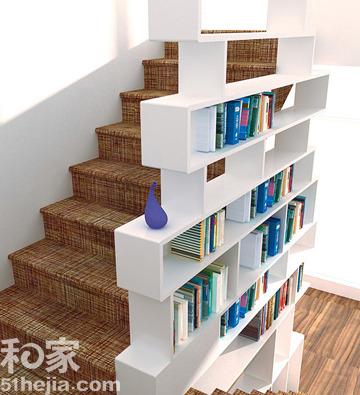 不规则的扶手展示架-创意设计改变小户型 N个妙招挖掘楼梯新空间