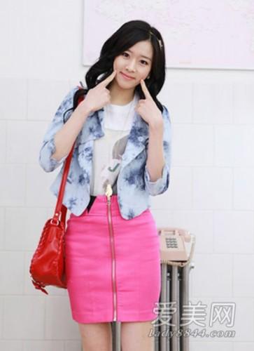 时尚 一步裙/粉红色拉链开襟一步裙