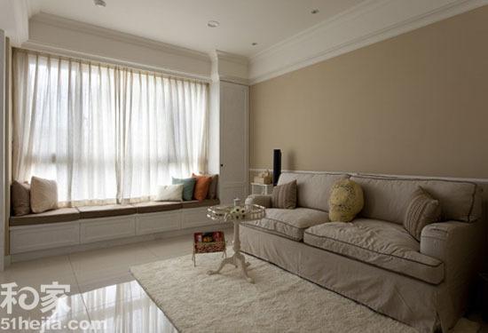 米色墙面白色地砖 轻铺美式童话婚宅(图)
