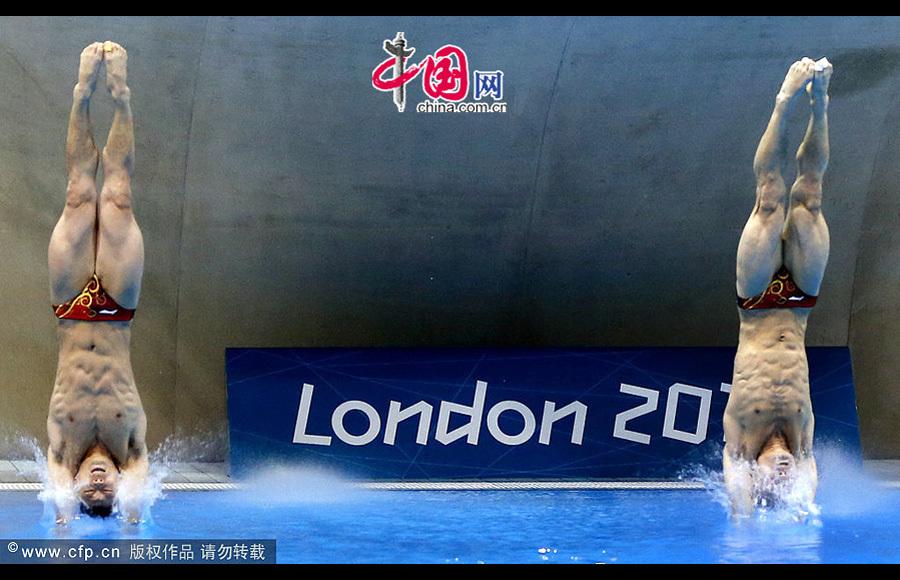 12年伦敦奥运会跳水_2012年8月1日,伦敦2012奥运会,男子跳水双人3米板,中国组合秦凯