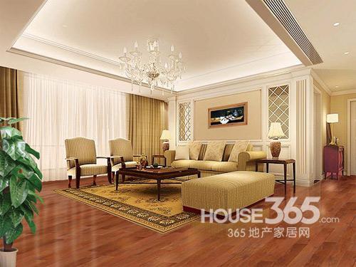 家庭地板装修效果图——现代时尚风格客厅地板搭配