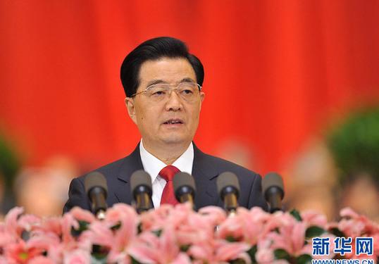 胡锦涛作报告。新华社记者 黄敬文 摄