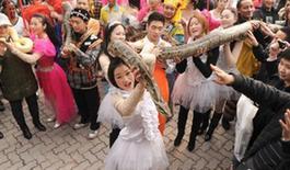 圖為:洋人街工作人員正抱著蛇讓市民前來撫摸陳超攝