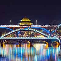 凤凰古城炫丽的夜景
