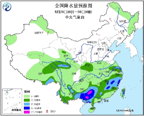 中央气象台05月30日发布 未来三天全国天气预报