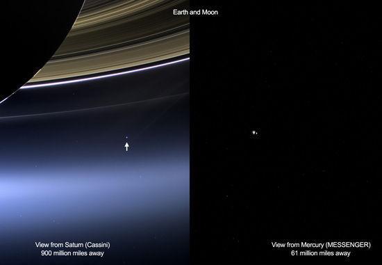 新华网华盛顿7月22日电 (记者林小春)在漆黑的背景中,点缀着一个浅蓝色的圆点,附近还有另一个苍白小点这是美国航天局22日公布的探测器从土星与水星轨道上拍摄的地球与月亮最新系列写真照之一。 据美国航天局介绍,这些照片都摄于本月19日,其中卡西尼号土星探测器拍下的是彩色照片,当时它距地球约15亿公里;而信使号水星探测器拍摄的是黑白照片,当时它距地球约9800万公里。 在卡西尼号拍下的一张照片中,可以看到地球与月球是位于土星环之间的两个亮点,仿佛黑暗宇宙中的两个明亮灯塔,其中地球是浅蓝色,而